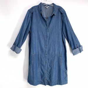 JAIME Chambray Button Down 3/4 sleeve denim dress
